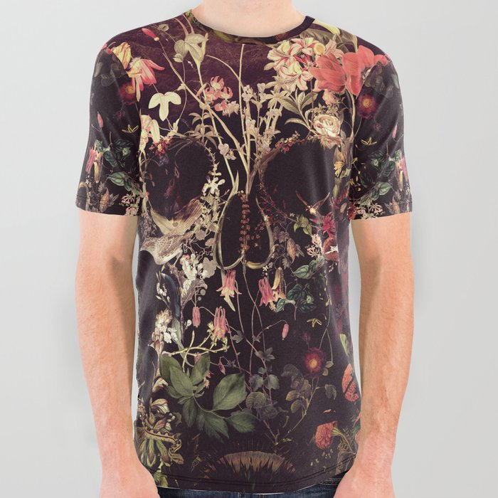 Bloom Skull All Over Graphic Tee