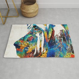 Colorful Bloodhound Dog Art By Sharon Cummings Rug
