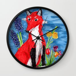 Spring Fox Surrounded by Flowers Wall Clock