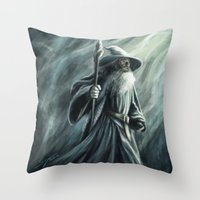 gandalf Throw Pillows featuring Gandalf by Svenja Gosen