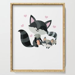 Raccoon Mother And Baby Cute Animal Family Gift Serving Tray