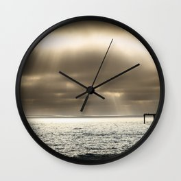 Clouds Over the Pier Wall Clock
