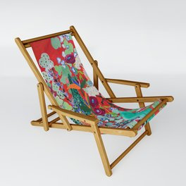 Red floral Jungle Garden Botanical featuring Proteas, Reeds, Eucalyptus, Ferns and Birds of Paradise Sling Chair