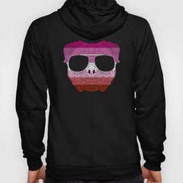Pug Dog Face Gay Pride Lesbian Rainbow Flag with Sunglasses Hoody