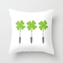 Darts Saint Hat Tricks St Patrick Shamrock Throw Pillow