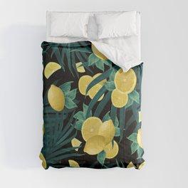 Summer Lemon Twist Jungle Night #1 #tropical #decor #art #society6 Comforters