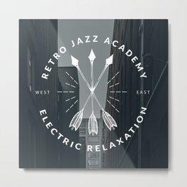 Retro + Vintage Electric Relaxation White Metal Print