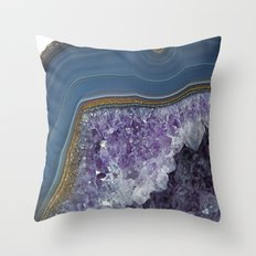 Amethyst Geode Agate Throw Pillow