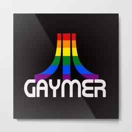 Retro Rainbow GAYMER Gamer Metal Print
