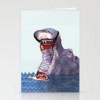 hippo Stationery Cards featuring Hippo by MGNFQ