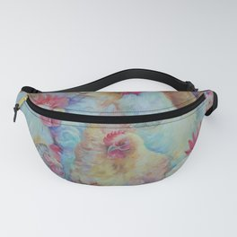 ROOSTERS Birds Animal painting Country style decor Vegan accent Fanny Pack