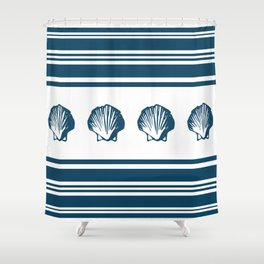 Seashells and stripes Shower Curtain
