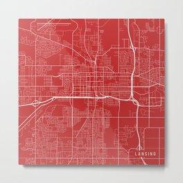 Lansing Map, USA - Red Metal Print