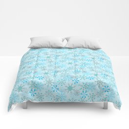 Christmas, Snow Flurries in Light Blue Comforters