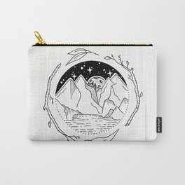Moon Over Mountain Range Circular Botanical Illustration Carry-All Pouch