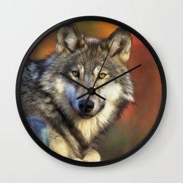 AUTUMN WOLF Wall Clock