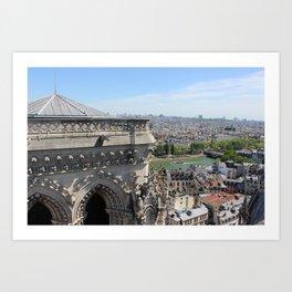 Notre Dame Cathedral & Seine River Art Print