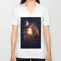 nebula V-neck T-shirts featuring Orion NEbula Dark & Colorful by 2sweet4words Designs