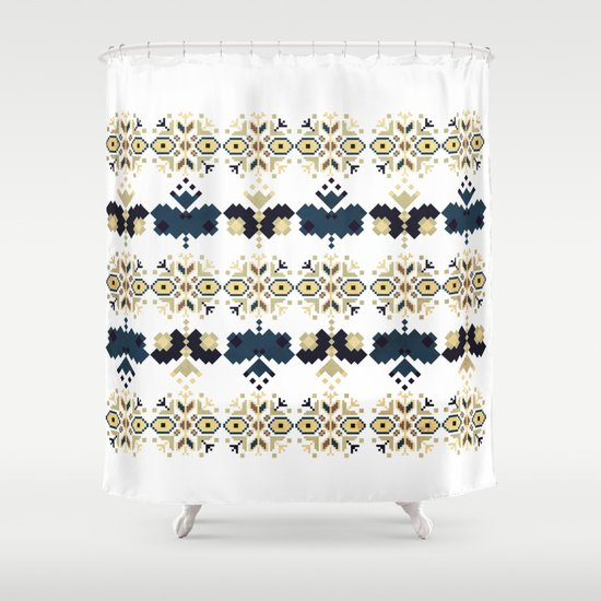 Bulgarian Embroidery Pattern 03 (Color option) Shower Curtain