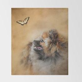 Butterfly Dreams - Pomeranian Throw Blanket