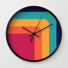 Abstract Geometric Retro Color Pattern Wall Clock
