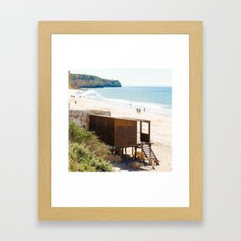 Cabane de plage, sea, Portugal, Europe Framed Art Print