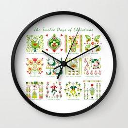 12 Days of Christmas Folk Art Style Wall Clock