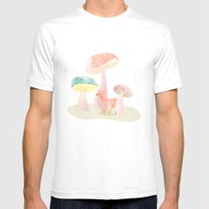 Mushrooms trees Mens Fitted Tee SMALL White