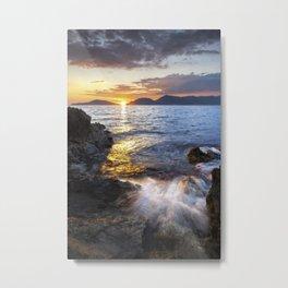 Sunset on the cliff of Tellaro, Italy Metal Print