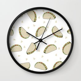 Tacos pattern food art taco design dorm college foodie Wall Clock