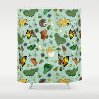 kaiju Shower Curtains featuring Baby Kaiju Blue by TheBleepBloopShop