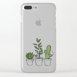 Three Little Succulents Clear iPhone Case