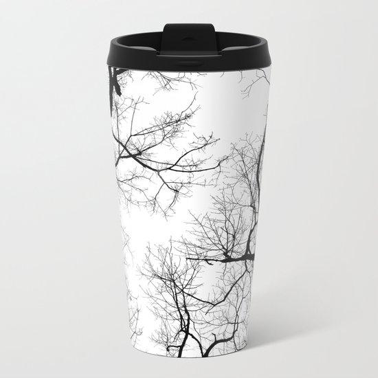 Black and white tree top silhouettes... Metal Travel Mug