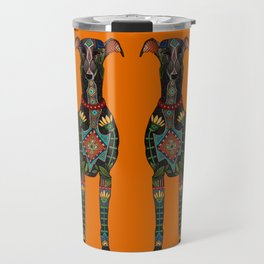 greyhound orange Travel Mug
