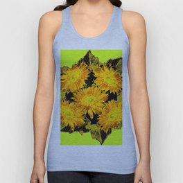 Decorative Chartreuse Golden Flowers Leaves Black Art Unisex Tank Top
