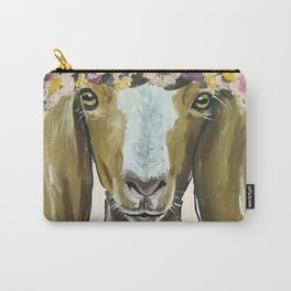 Goat Art, Flower Crown Farm Animal Carry-All Pouch