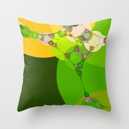 veronica - bright abstract of lime grass green and warm gold yellow Throw Pillow