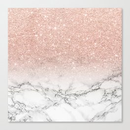 Modern faux rose gold pink glitter ombre white marble Canvas Print