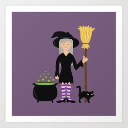 Cute Witch Girl And A Black Cat Halloween Design Art Print
