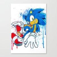 sonic Canvas Prints featuring Sonic by Luke Jonathon Fielding