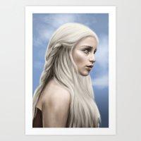 khaleesi Art Prints featuring Khaleesi (Blue Sky) by Jason Cumbers