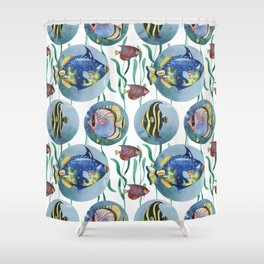 Watercolor seamless hand drawn pattern with tropical fish. Shower Curtain