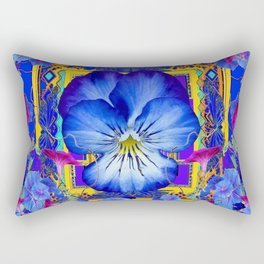 DECORATIVE BLUE PANSY & VINING  MORNING GLORIES Rectangular Pillow