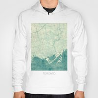 toronto Hoodies featuring Toronto Map Blue Vintage by City Art Posters