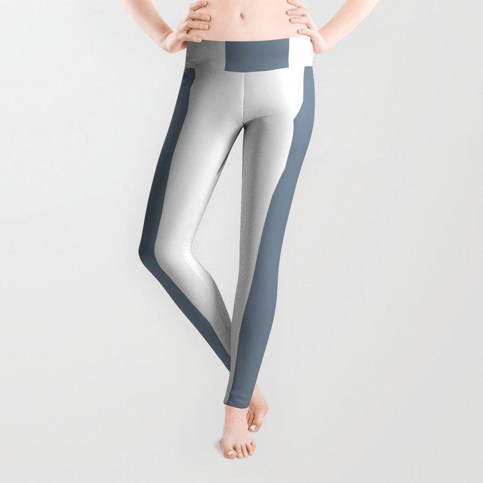 Light slate gray - solid color - white vertical lines pattern Leggings