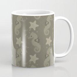 Sepia Seahorses And Starfish Pattern Coffee Mug