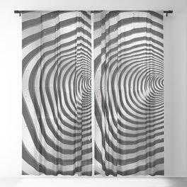Square wormhole (b/w) Sheer Curtain