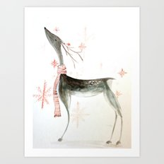 reindeer watercolor Art Print