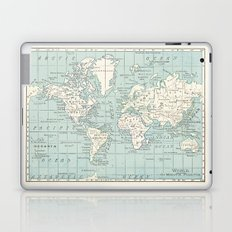 World Map in Blue and Cream Laptop & iPad Skin