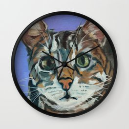 Green Eyed Cat Portrait Wall Clock